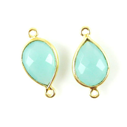 Bezel Gemstone Links- 10x14mm Faceted Pear - Peru Chalcedony (Sold per 2 pieces)