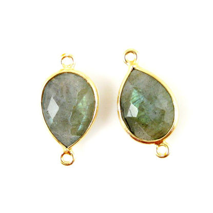 Bezel Gemstone Links - 10x14mm Faceted Pear - Labradorite (Sold per 2 pieces)