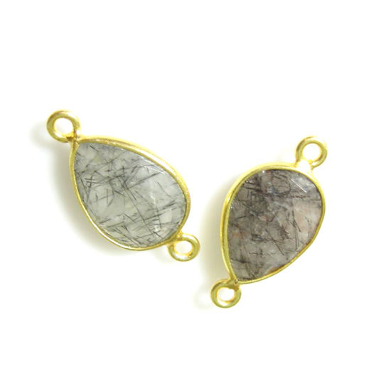 Bezel Gemstone Links - 10x14mm Faceted Pear - Black Rutilated Quartz (Sold per 2 pieces)