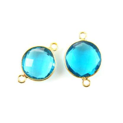 Bezel Gemstone Links - Vermeil - Faceted Coin Shape - Blue Quartz  (Sold per 2 pieces)