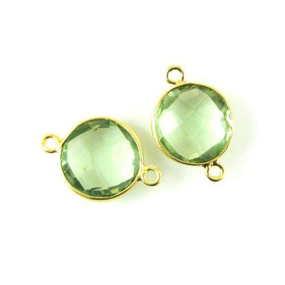 Bezel Gemstone Links - Vermeil - Faceted Coin Shape - Green Amethyst Quartz (Sold per 2 pieces)
