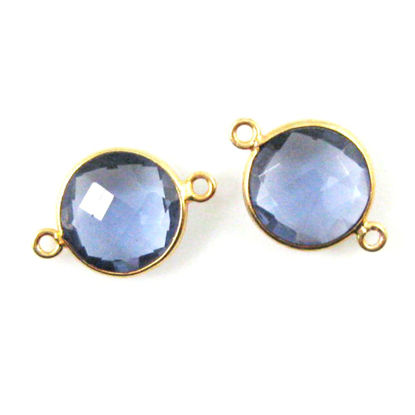 Bezel Gemstone Links - Vermeil - Faceted Coin Shape - Iolite Quartz (Sold per 2 pieces)