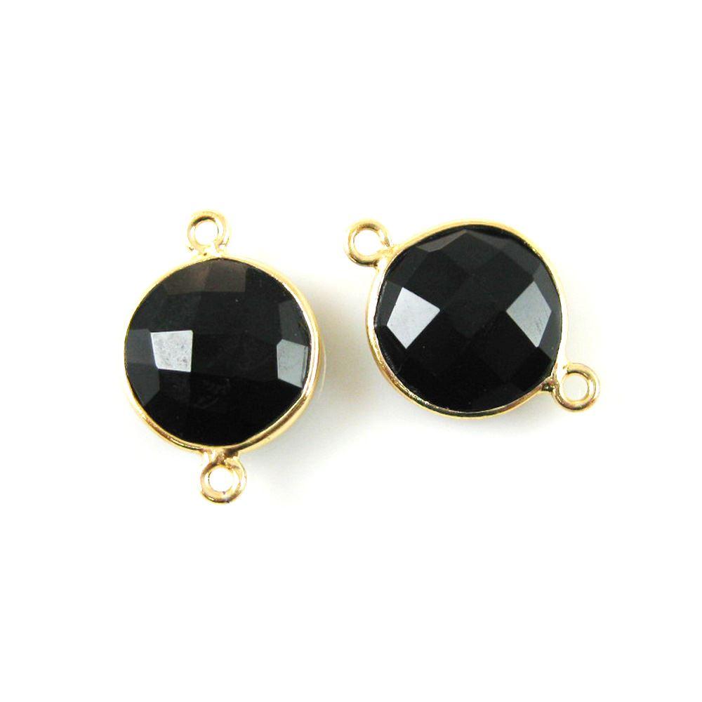 Bezel Gemstone Links - Vermeil - Faceted Coin Shape - Black Onyx (Sold per 2 pieces)