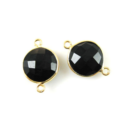 Bezel Gemstone Links - Vermeil - Faceted Coin Shape - Black Onyx (Sold per 2 pieces)