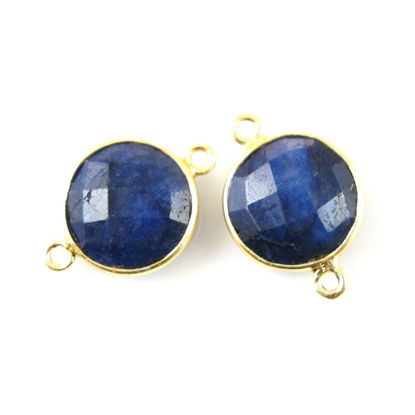 Bezel Gemstone Links - Vermeil - Faceted Coin Shape - Dyed Blue Sapphire (Sold per 2 pieces)