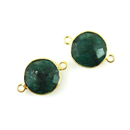 Bezel Gemstone Links - Vermeil - Faceted Coin Shape - Dyed Emerald (Sold per 2 pieces)