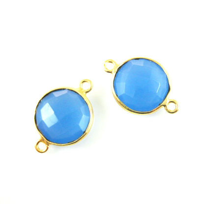 Bezel Gemstone Links - Vermeil - Faceted Coin Shape - Blue Chalcedony (Sold per 2 pieces)