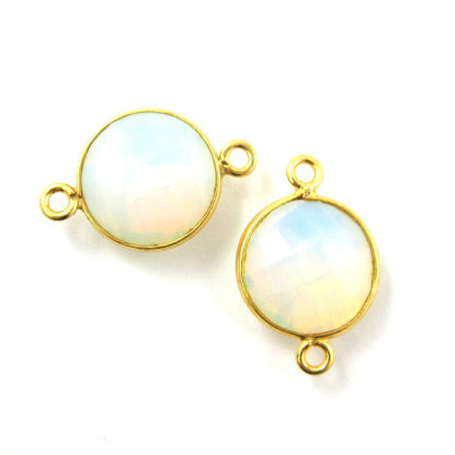 Bezel Gemstone Links - Vermeil - Faceted Coin Shape - Opalite Quartz- October Birthstone (Sold per 2 pieces)
