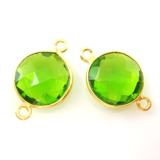 Bezel Gemstone Links - Vermeil - Faceted Coin Shape - Peridot Quartz- August Birthstone (Sold per 2 pieces)