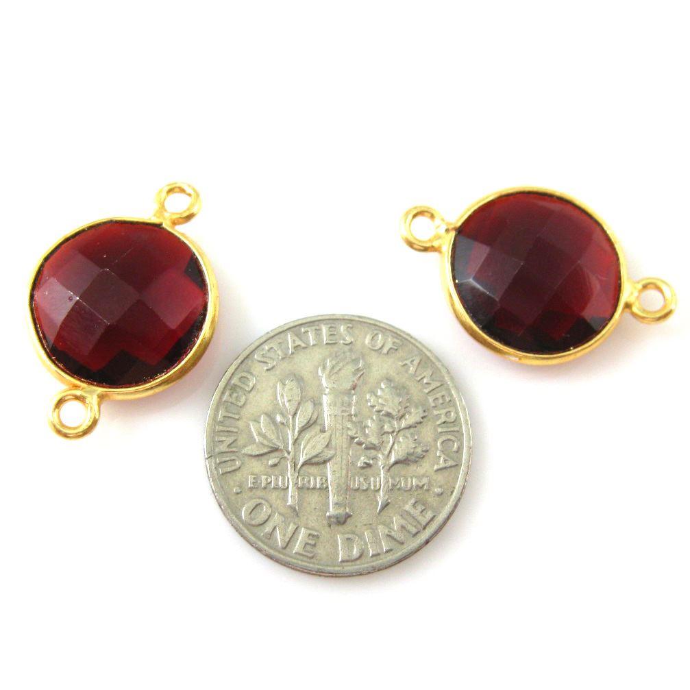 Bezel Gemstone Links - Vermeil - Faceted Coin Shape -Garnet Quartz-January Birthstone (Sold per 2 pieces)