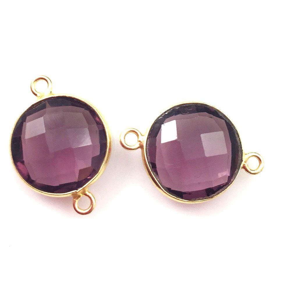 Bezel Gemstone Links - Vermeil - Faceted Coin Shape - Pink Amethyst Quartz (Sold per 2 pieces)
