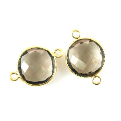 Bezel Gemstone Links - Vermeil - Faceted Coin Shape - Smokey Quartz (Sold per 2 pieces)