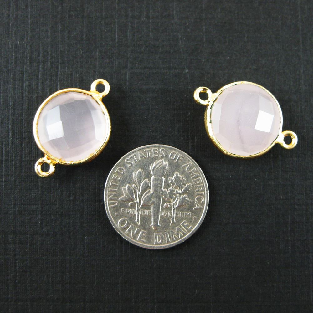 Bezel Gemstone Links - Vermeil - Faceted Coin Shape - Pink Chalcedony (Sold per 2 pieces)