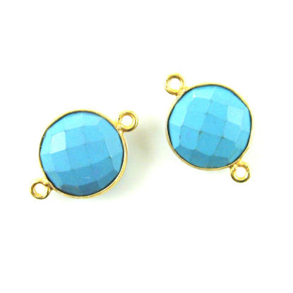 Bezel Gemstone Links - Vermeil - Faceted Coin Shape - Turquoise (Sold per 2 pieces)