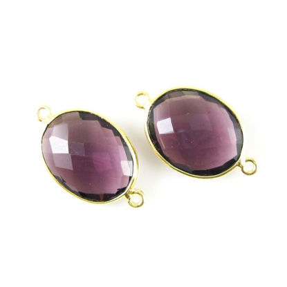 Bezel Gemstone Links - 14x18mm Faceted Oval - Amethyst Quartz (Sold per 2 pieces)