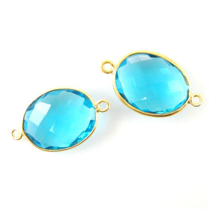 Bezel Gemstone Links- 14x18mm Faceted Oval - Blue Quartz (Sold per 2 pieces)
