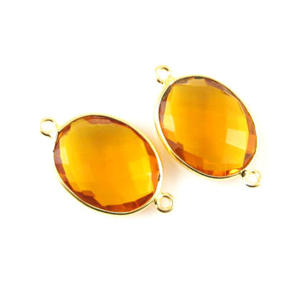 Bezel Gemstone Links - 14x18mm Faceted Oval - Citrine Quartz (Sold per 2 pieces)