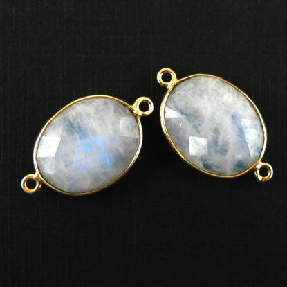 Bezel Gemstone Links - 14x18mm Faceted Oval - Moonstone (Sold per 2 pieces)