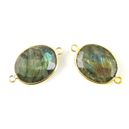 Bezel Gemstone Links - 14x18mm Faceted Oval - Labradorite (Sold per 2 pieces)