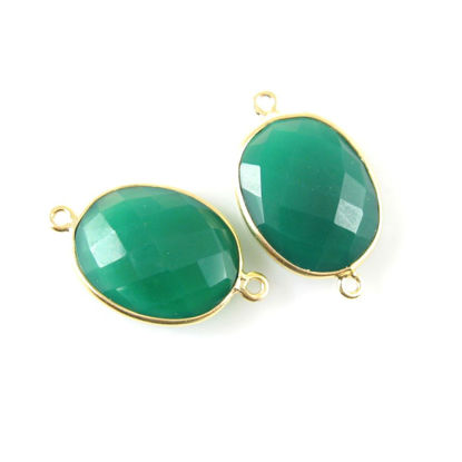 Bezel Gemstone Links - 14x18mm Faceted Oval - Green Onyx (Sold per 2 pieces)