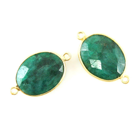Bezel Gemstone Links- 14x18mm Faceted Oval - Dyed Emerald (Sold per 2 pieces)