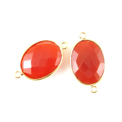 Bezel Gemstone Links - 14x18mm Faceted Oval - Carnelian  (Sold per 2 pieces)