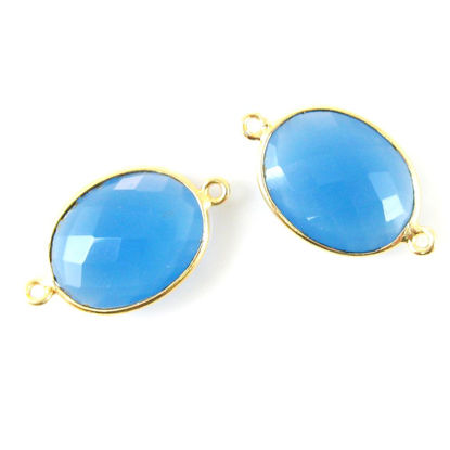 Bezel Gemstone Links - 14x18mm Faceted Oval - Blue Chalcedony (Sold per 2 pieces)