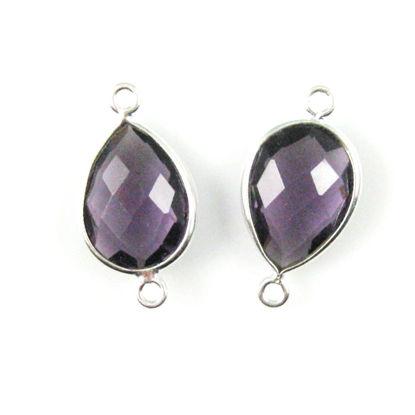 Bezel Gemstone Links - Sterling Silver - Faceted Pear Shape - Amethyst Quartz (Sold per 2 pieces)