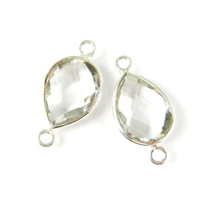 Bezel Gemstone Links- Connector - 925 Sterling Silver - Faceted Pear Shape - Crystal Quartz - April Birthstone (Sold per 2 pieces)