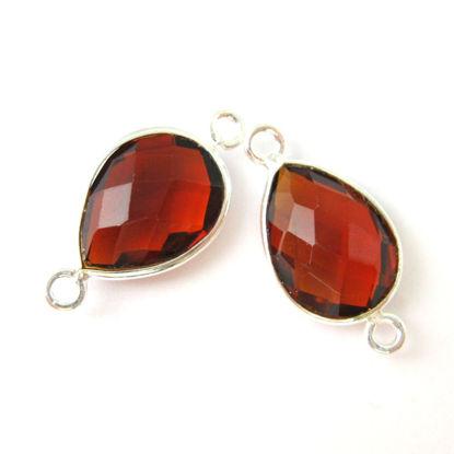 Bezel Gemstone Links- Connector - 925 Sterling Silver - Faceted Pear Shape - Garnet Quartz -January Birthstone (Sold per 2 pieces)