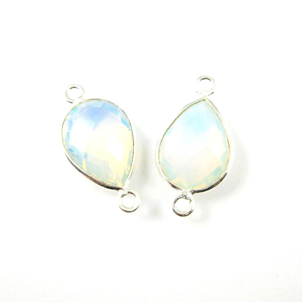 Bezel Gemstone Links- Connector - 925 Sterling Silver - Faceted Pear Shape - Opalite Quartz  -October Birthstone (Sold per 2 pieces)