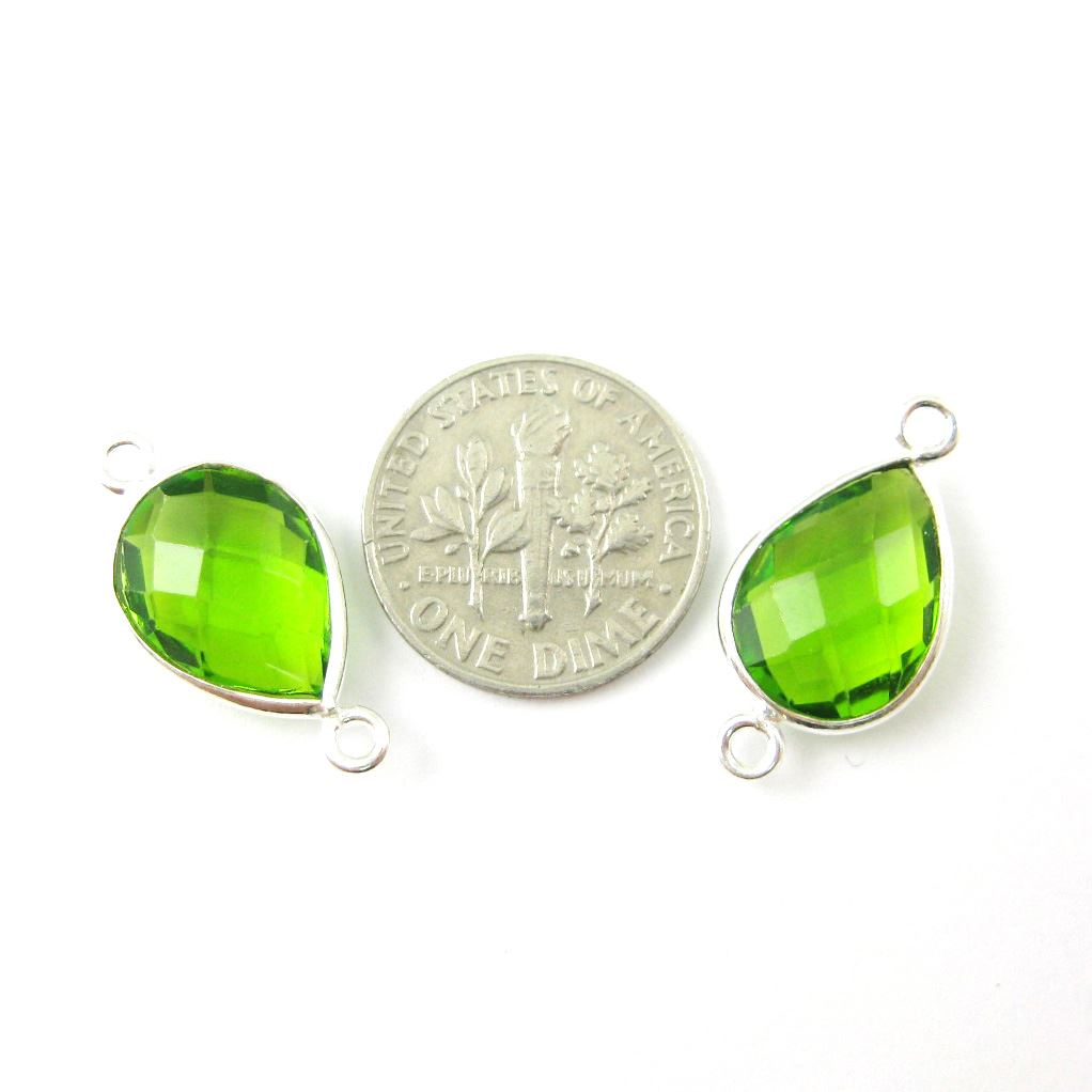 Bezel Gemstone Links- Connector - 925 Sterling Silver - Faceted Pear Shape - Peridot Quartz - August Birthstone (Sold per 2 pieces)