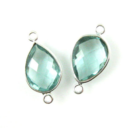 Bezel Gemstone Links - Sterling Silver - Faceted Pear Shape - Aqua Quartz (Sold per 2 pieces)