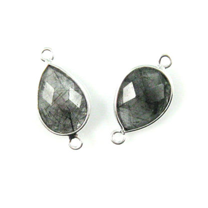 Bezel Gemstone Links - Sterling Silver - Faceted Pear Shape - Black Rutilated Quartz (sold per pair)