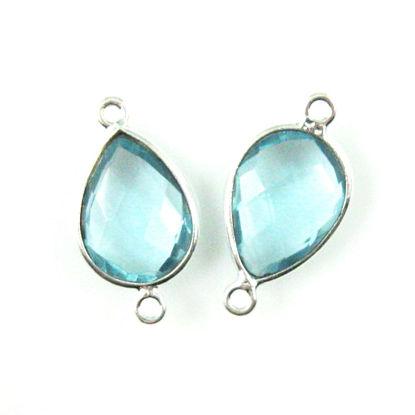 Bezel Gemstone Links - Sterling Silver - Faceted Pear Shape - Blue Topaz Quartz  (Sold per 2 pieces)