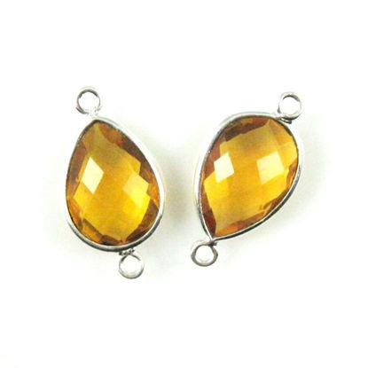 Bezel Gemstone Links - Sterling Silver - Faceted Pear Shape - Citrine Quartz (Sold per 2 pieces)