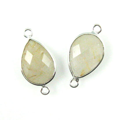 Bezel Gemstone Links - Sterling Silver - Faceted Pear Shape - Gold Rutilated Quartz (Sold per 2 pieces)