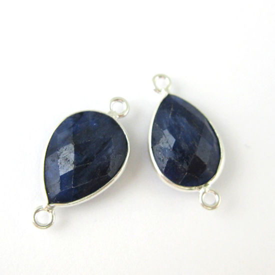 Bezel Gemstone Links- Connector - 925 Sterling Silver - Faceted Pear Shape - Blue Sapphire Dyed-September Birthstone (Sold per 2 pieces)