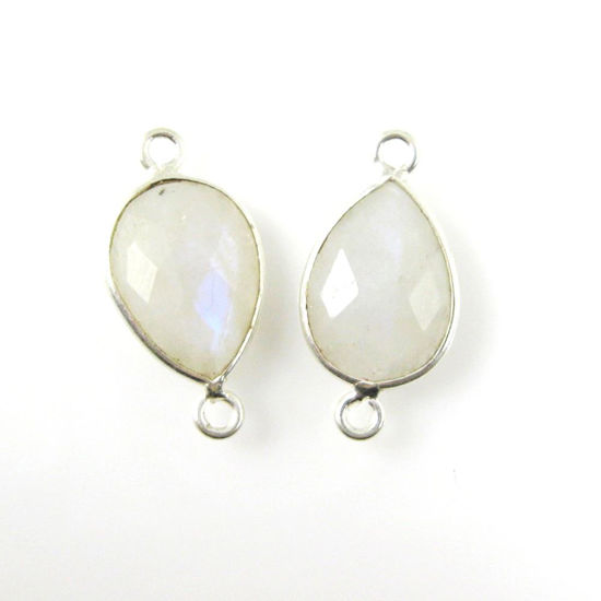 Bezel Gemstone Links - Sterling Silver - Faceted Pear Shape - Moonstone (Sold per 2 pieces)