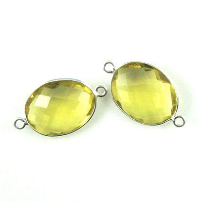 Bezel Gemstone Links - Sterling Silver - Faceted Oval Shape - Lemon Quartz (Sold per 2 pieces)