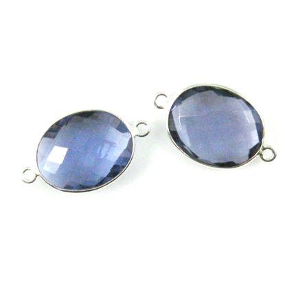 Bezel Gemstone Links - Sterling Silver - Faceted Oval Shape - Iolite Quartz (Sold per 2 pieces)