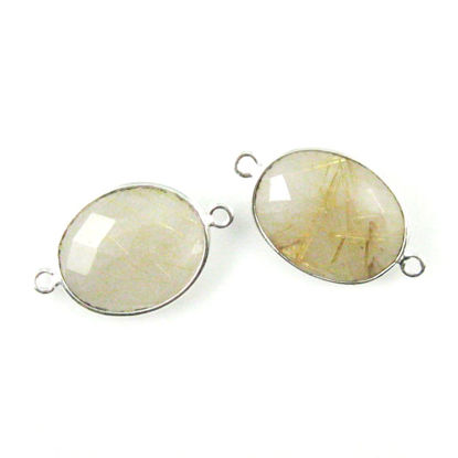 Bezel Gemstone Links - Sterling Silver - Faceted Oval Shape - Gold Rutilated Quartz (Sold per 2 pieces)