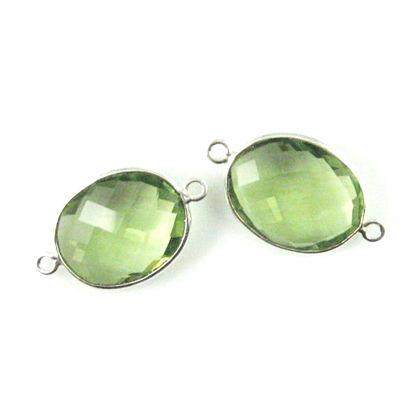 Bezel Gemstone Links - Sterling Silver - Faceted Oval Shape - Green Amethyst Quartz (Sold per 2 pieces)