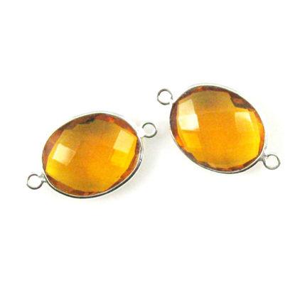 Bezel Gemstone Links - Sterling Silver - Faceted Oval Shape - Citrine Quartz (Sold per 2 pieces)