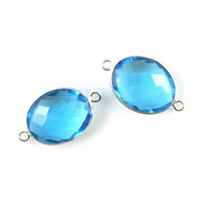 Bezel Gemstone Links - Sterling Silver - Faceted Oval Shape - Blue Topaz Quartz (Sold per 2 pieces)