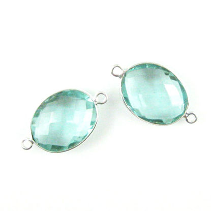 Bezel Gemstone Links - Sterling Silver - Faceted Oval Shape - Aqua Quartz (Sold per 2 pieces)