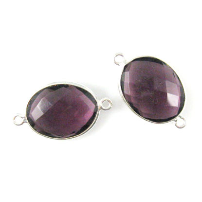 Bezel Gemstone Links - Sterling Silver - Faceted Oval Shape - Amethyst Quartz (Sold per 2 pieces)