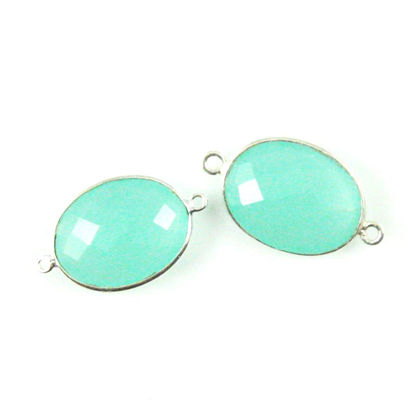 Bezel Gemstone Links - Sterling Silver - Faceted Oval Shape - Peru Chalcedony  (Sold per 2 pieces)