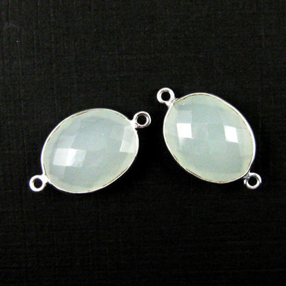 Bezel Gemstone Links - Sterling Silver - Faceted Oval Shape - Aqua Chalcedony  (Sold per 2 pieces)