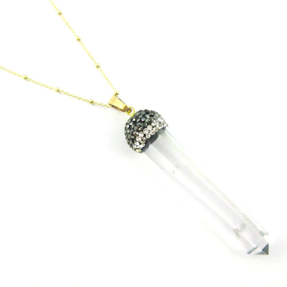 Crystal Pave Necklace - Gold plated Sterling Silver Beaded Necklace Chain with Crystal Quartz Pendulum Pendant and Zircon Pave